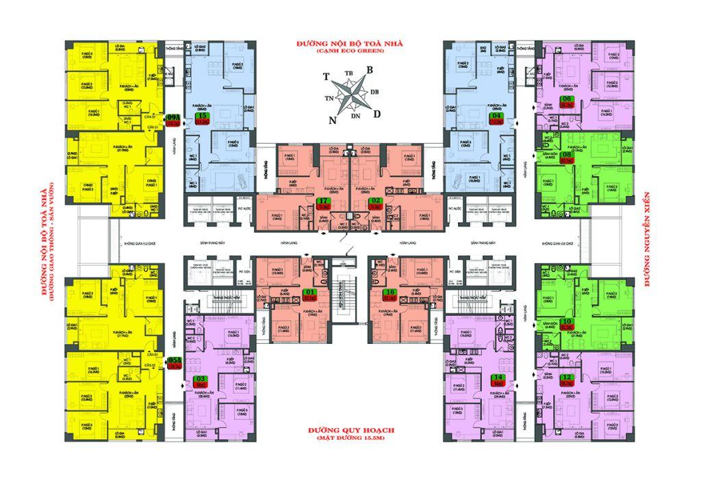 mặt bằng chung cư housinco premium tầng 8 - 22