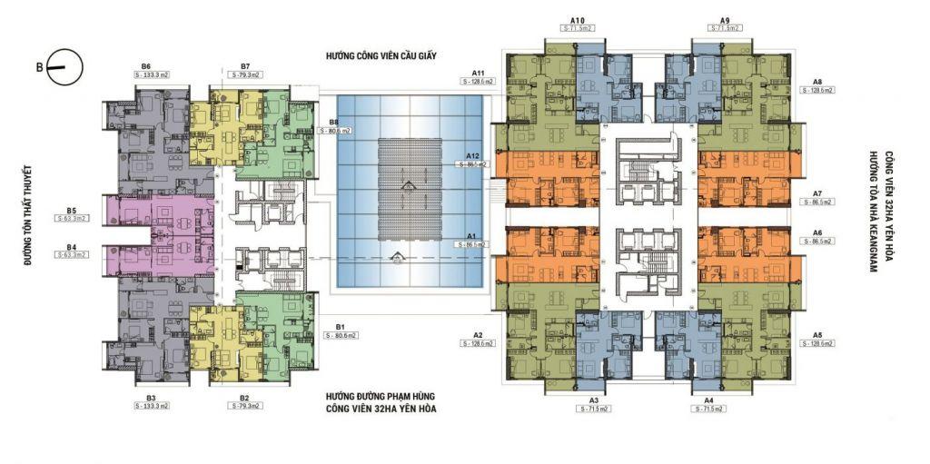 mặt bằng chung cư cho thuê sky park residence