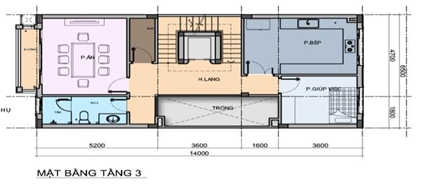 thiết kế shophouse him lam vạn phúc tầng 3