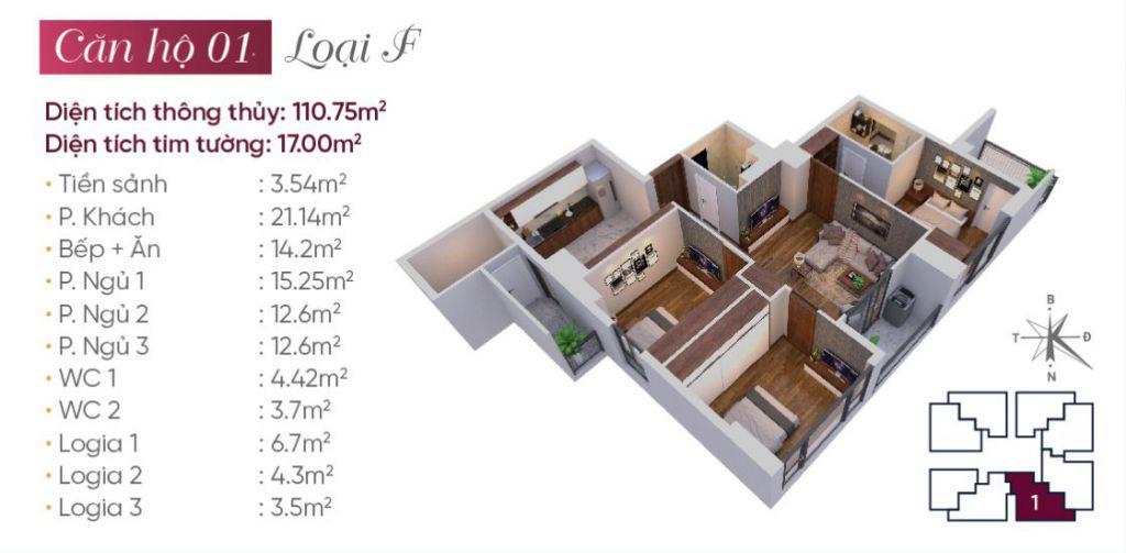 thiết kế căn hộ 01 tây hồ golden land