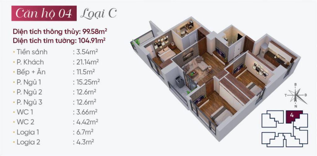 thiết kế căn hộ 04 tây hồ golden land