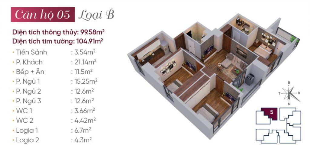 thiết kế căn hộ 05 tây hồ golden land