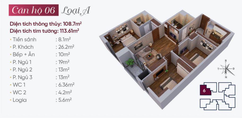 thiết kế căn hộ 06 tây hồ golden land