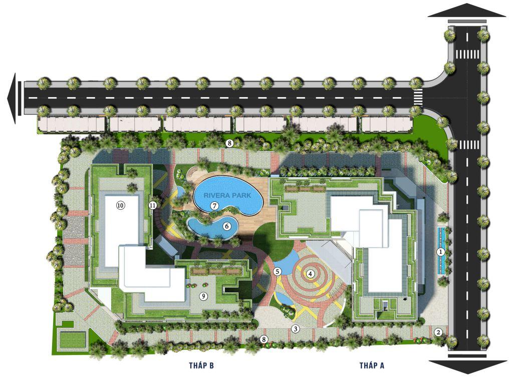 mặt bằng tiện ích dự án rivera park hà nội