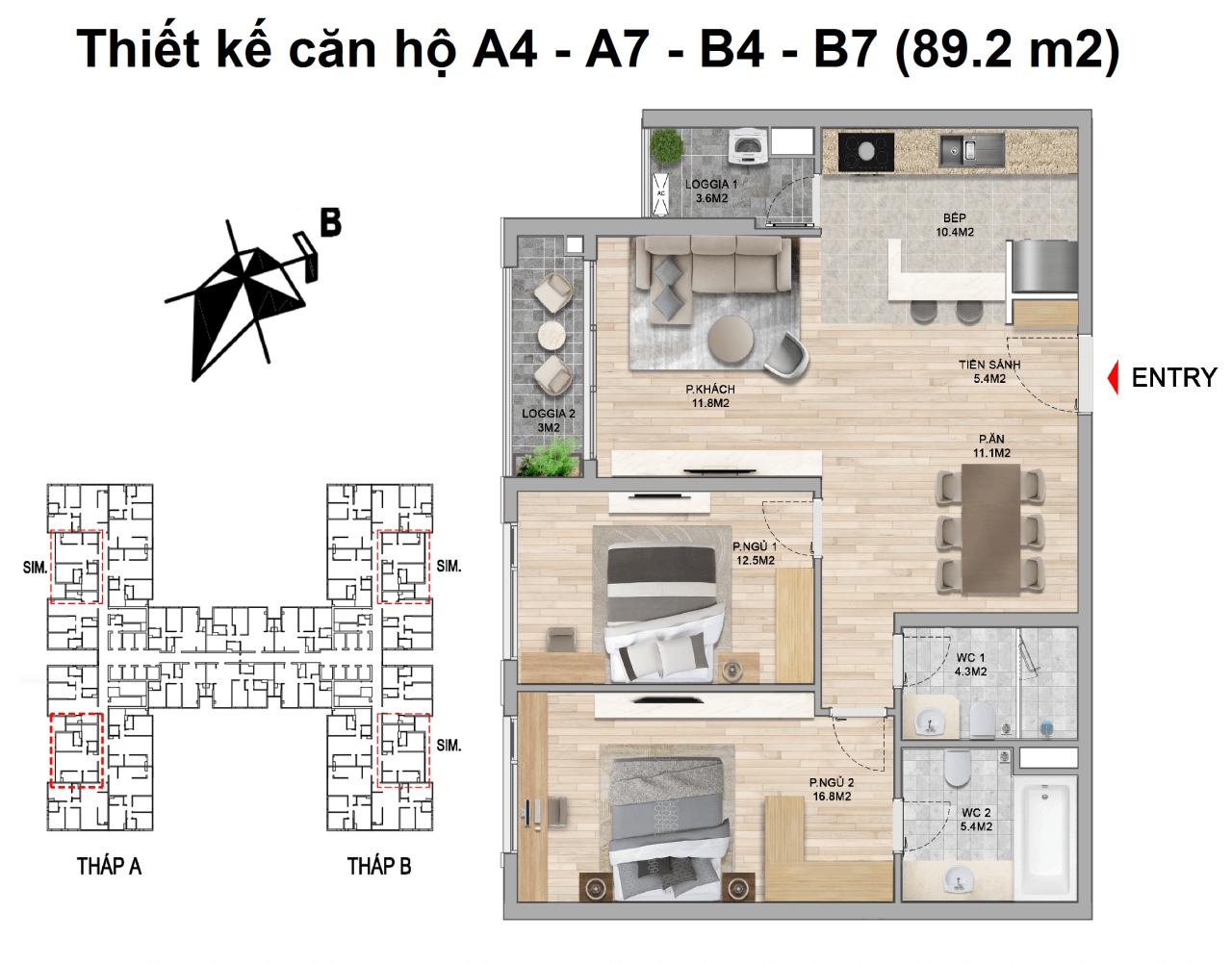 thiết kế căn hộ 2 ngủ the zei mỹ đình