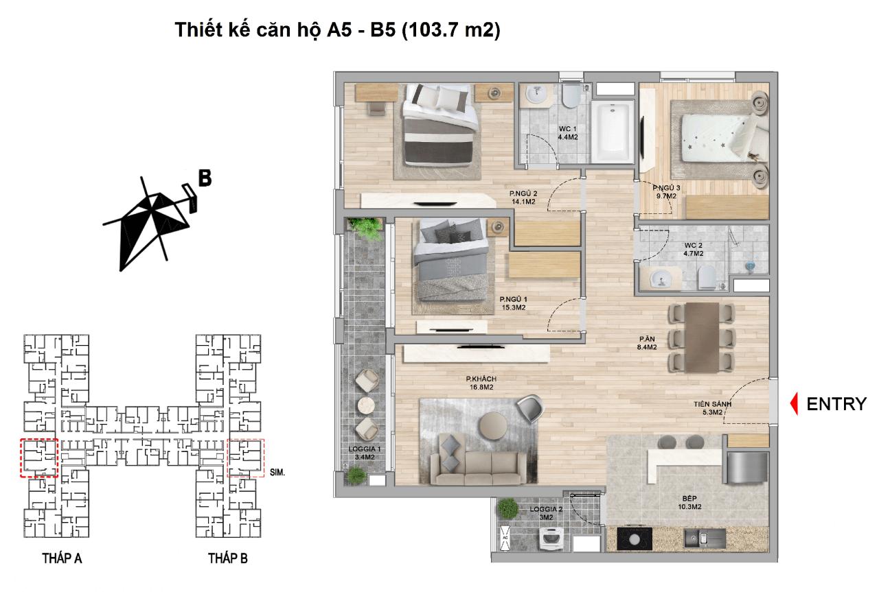 thiết kế căn hộ 3 ngủ the zei mỹ đình