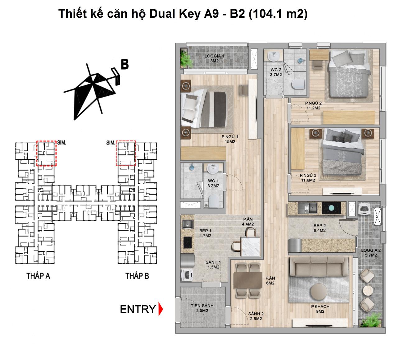 thiết kế căn hộ dual key the zei mỹ đình
