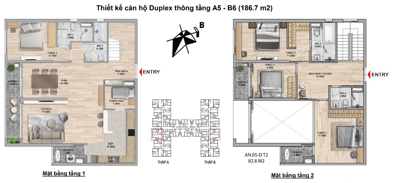 Thiết kế căn hộ duplex The Zei Mỹ Đình