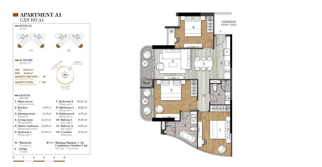 thiết kế căn hộ 3 ngủ marina ocean park
