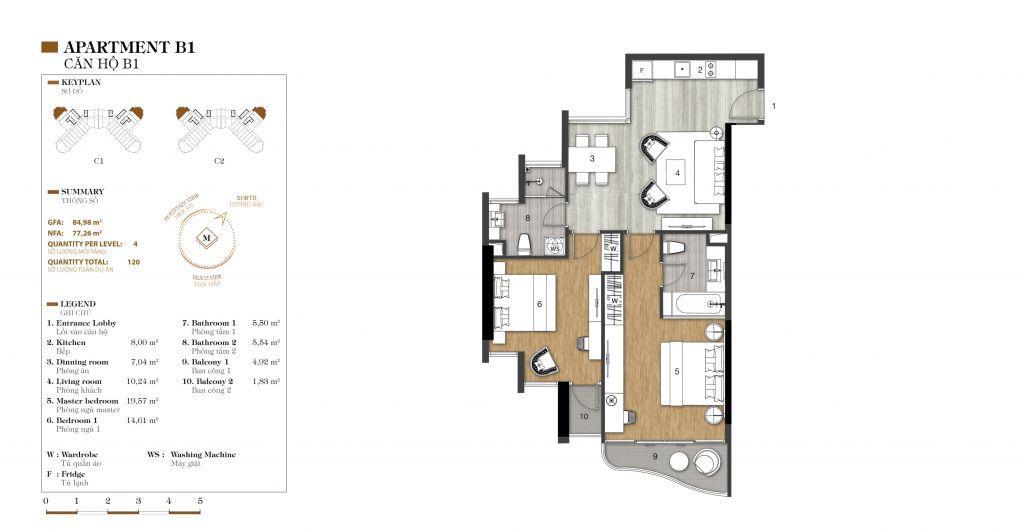 thiết kế căn hộ 2 ngủ marina ocean park