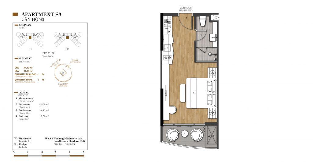 thiết kế căn hộ studio marina ocean park