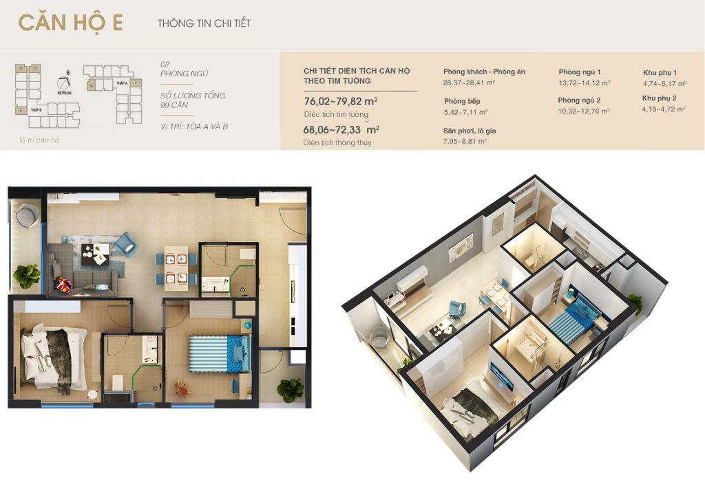 thiết kế chung cư rivera park hà nội căn hộ e