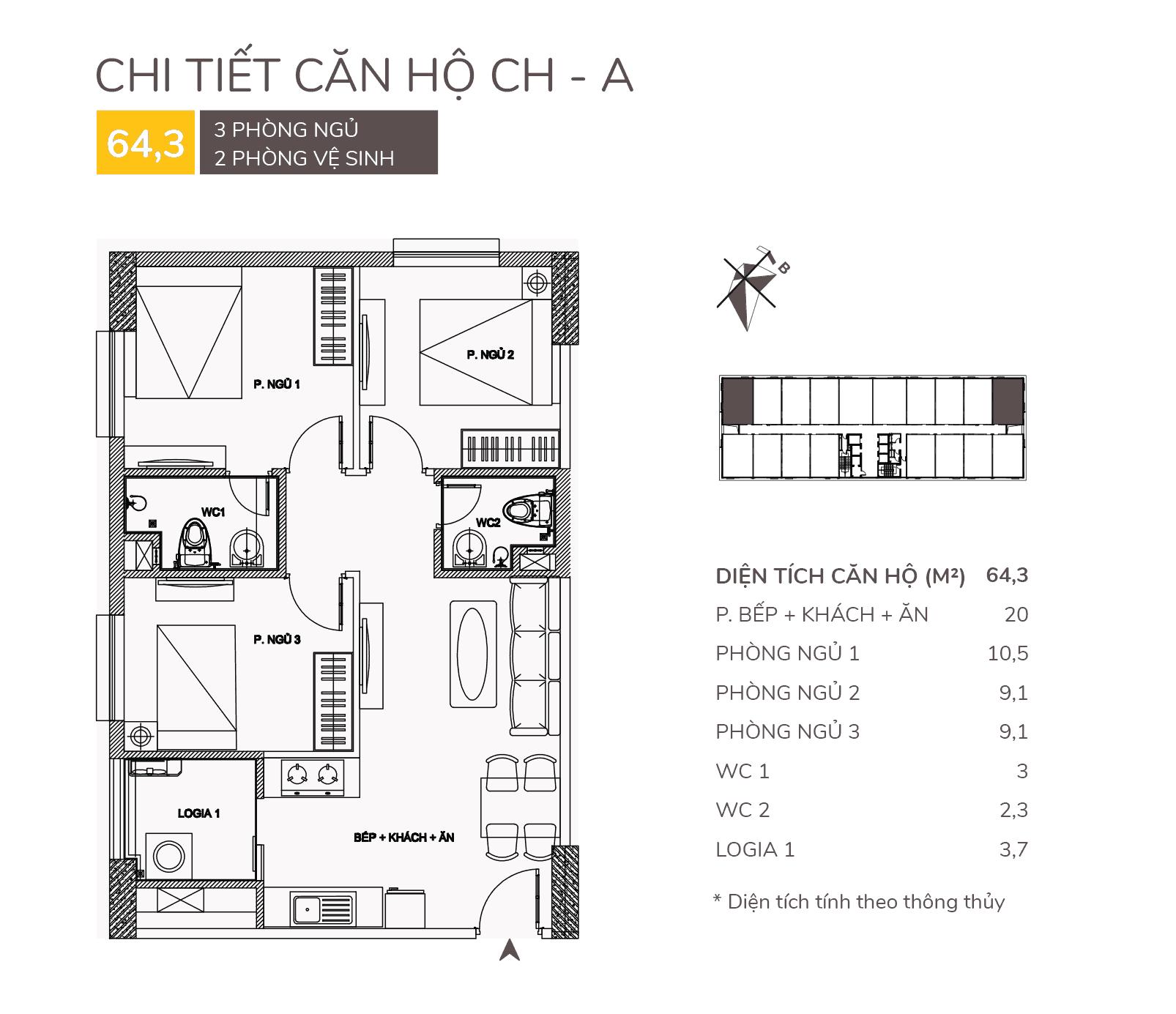 thiết kế căn hộ a chung cư aqh riverside