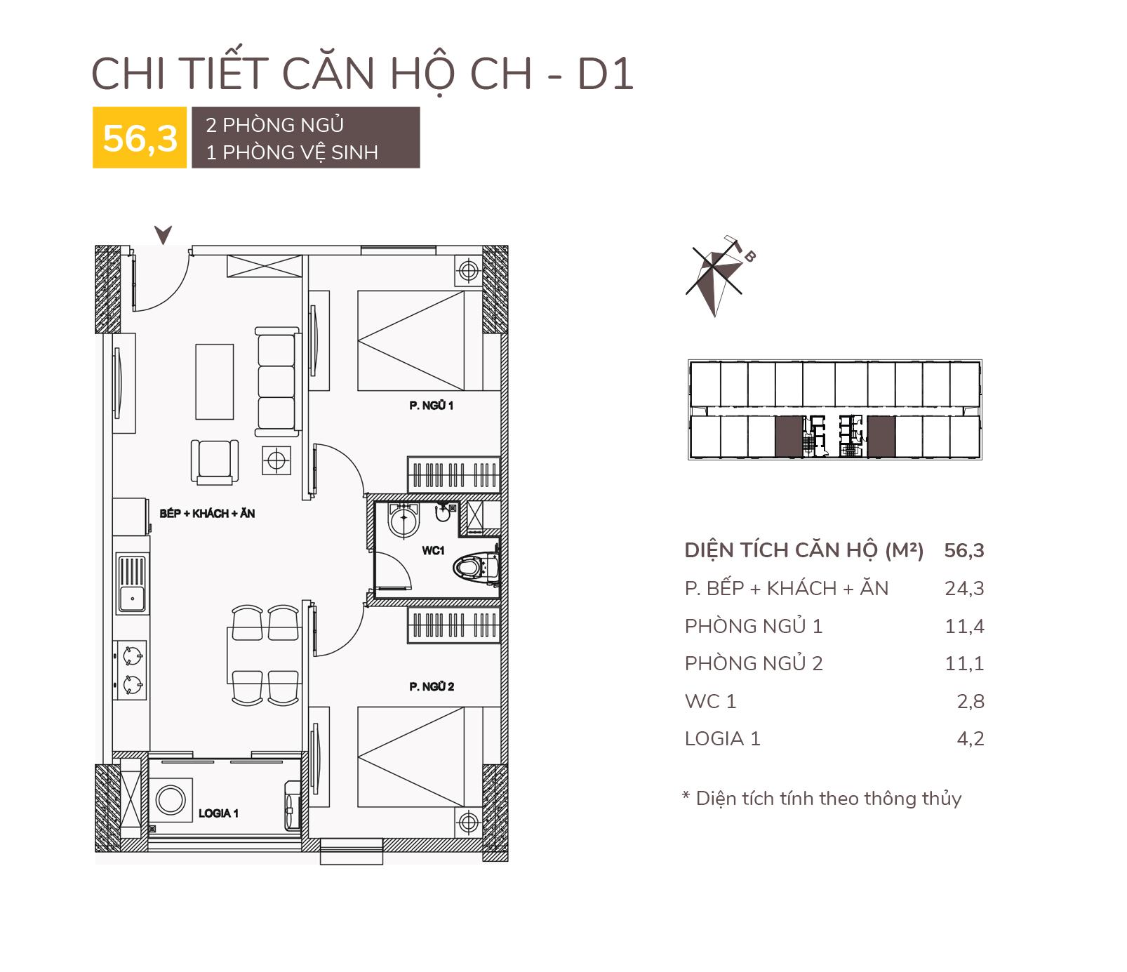 thiết kế căn hộ d1 chung cư aqh riverside