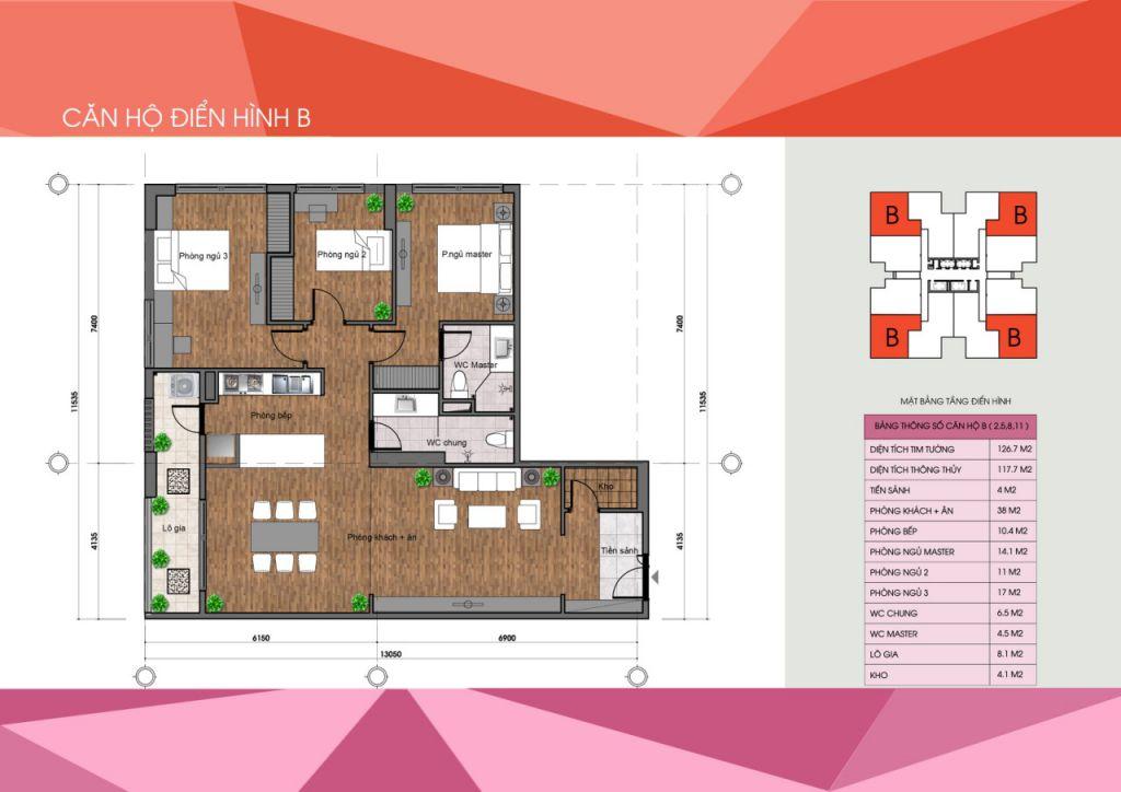 thiết kế chung cư the legacy căn hộ loại b