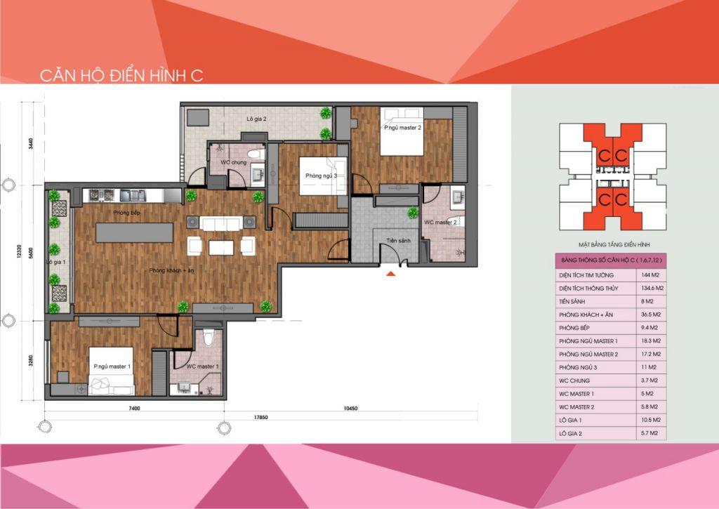 thiết kế chung cư the legacy căn hộ loại c