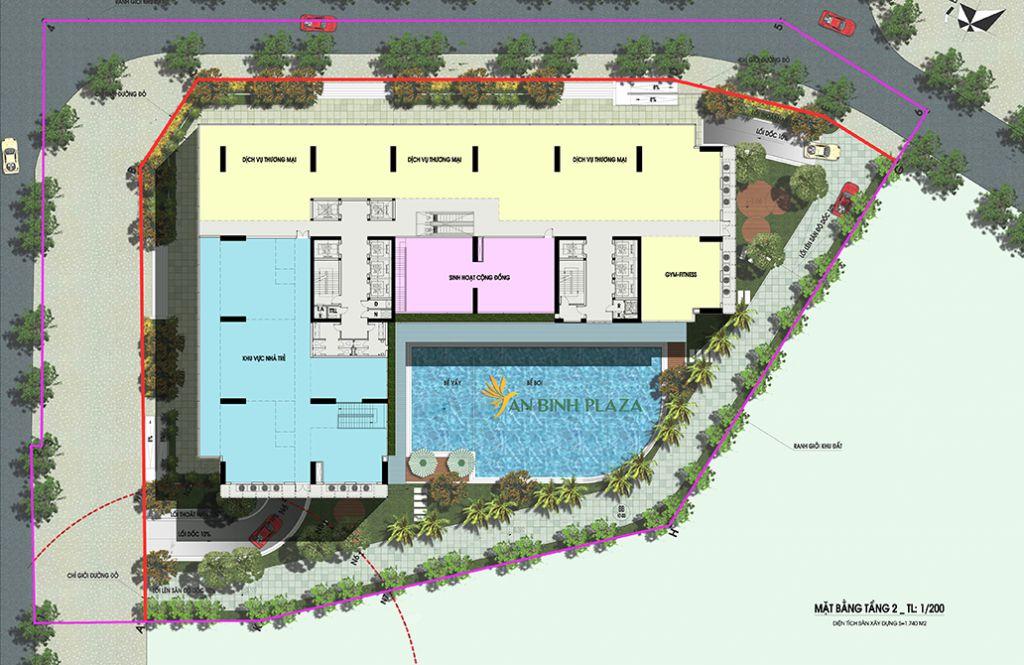 mặt bằng tầng 2 chung cư an bình plaza