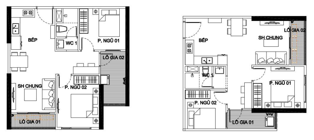 căn hộ 2 ngủ 1 wc vinhomes smart city