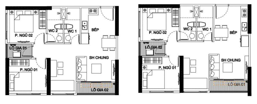 căn hộ 2 ngủ 2 wc vinhomes smart city