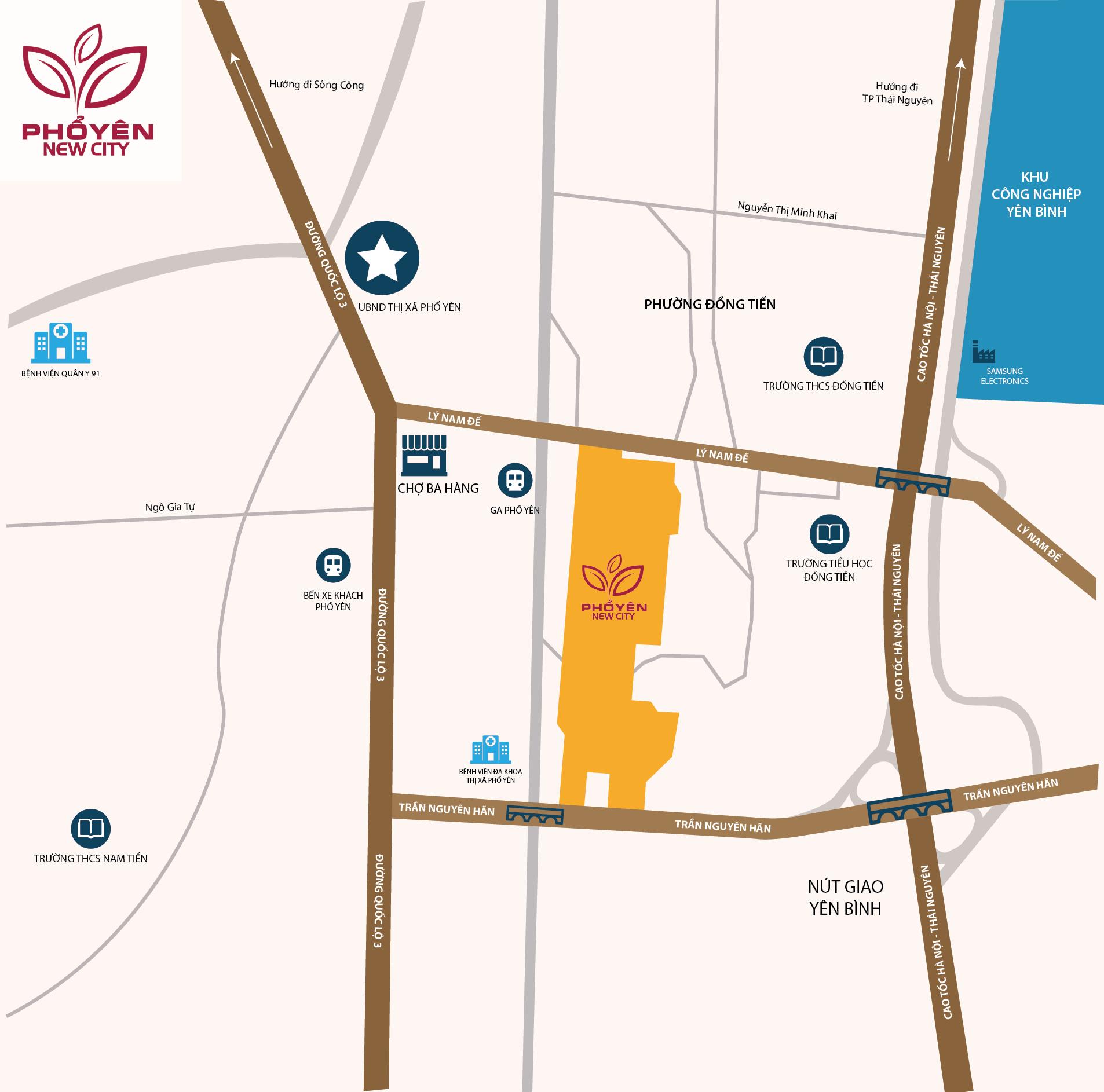 vị trí dự án phổ yên new city
