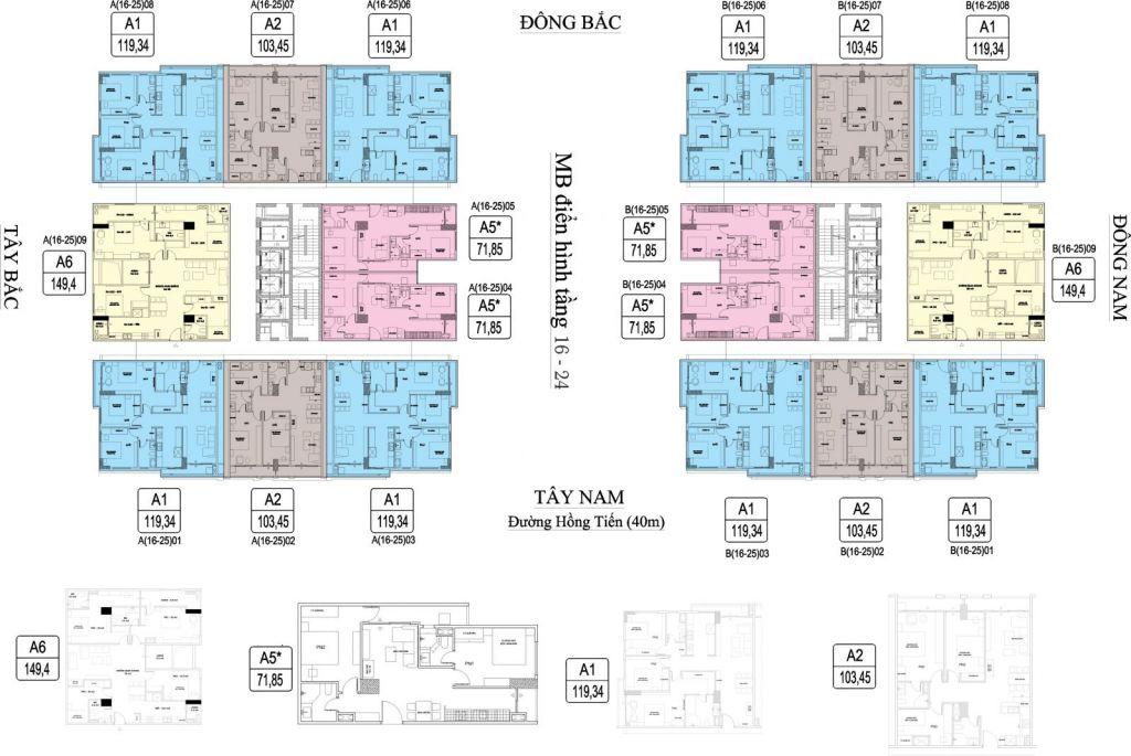 mặt bằng chung cư hc golden city tầng 16-24