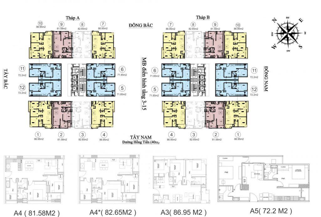 mặt bằng chung cư hc golden city tầng 3-15