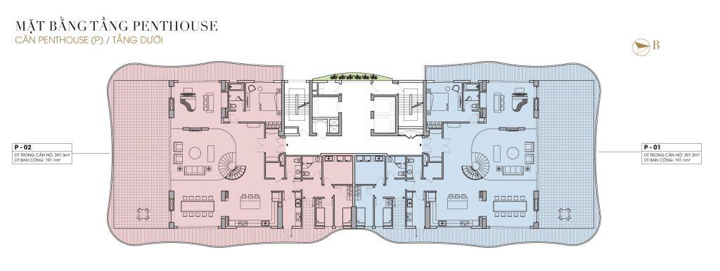 mặt bằng penthouse chung cư five star west lake