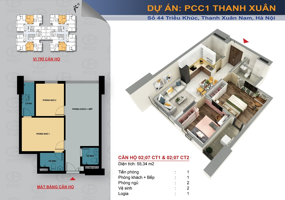 thiết kế căn hộ chung cư pcc1 thanh xuân