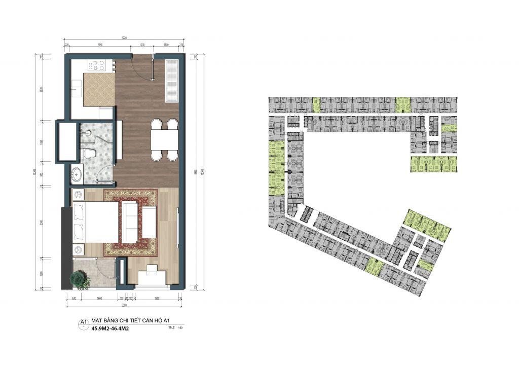 thiết kế officetel the lotus center căn a1