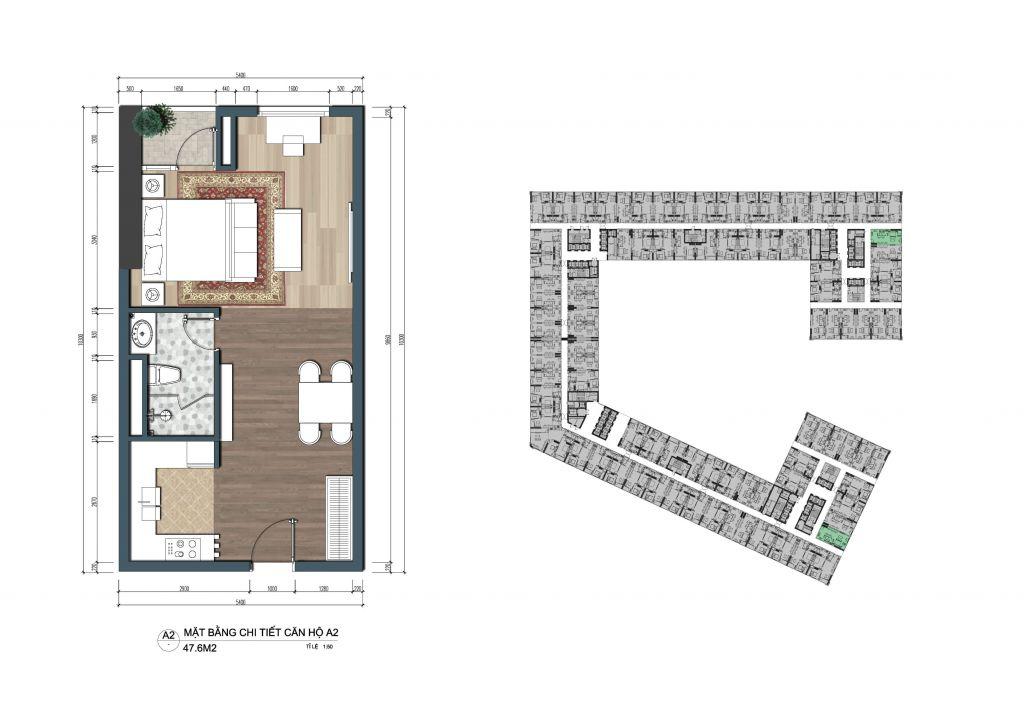 thiết kế officetel the lotus center căn a2