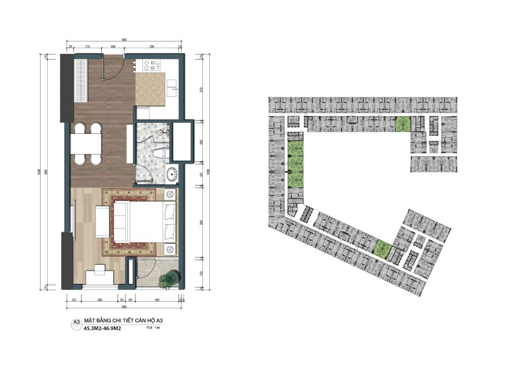 thiết kế officetel the lotus center căn a3