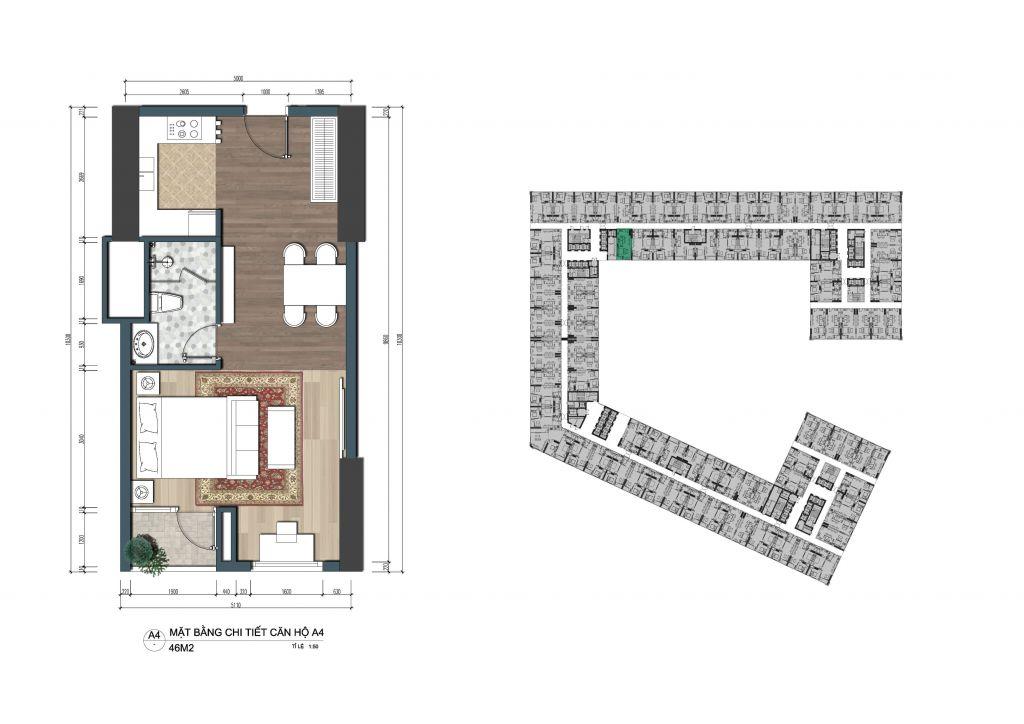 thiết kế officetel the lotus center căn a4