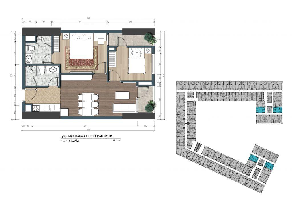 thiết kế officetel the lotus center căn b1