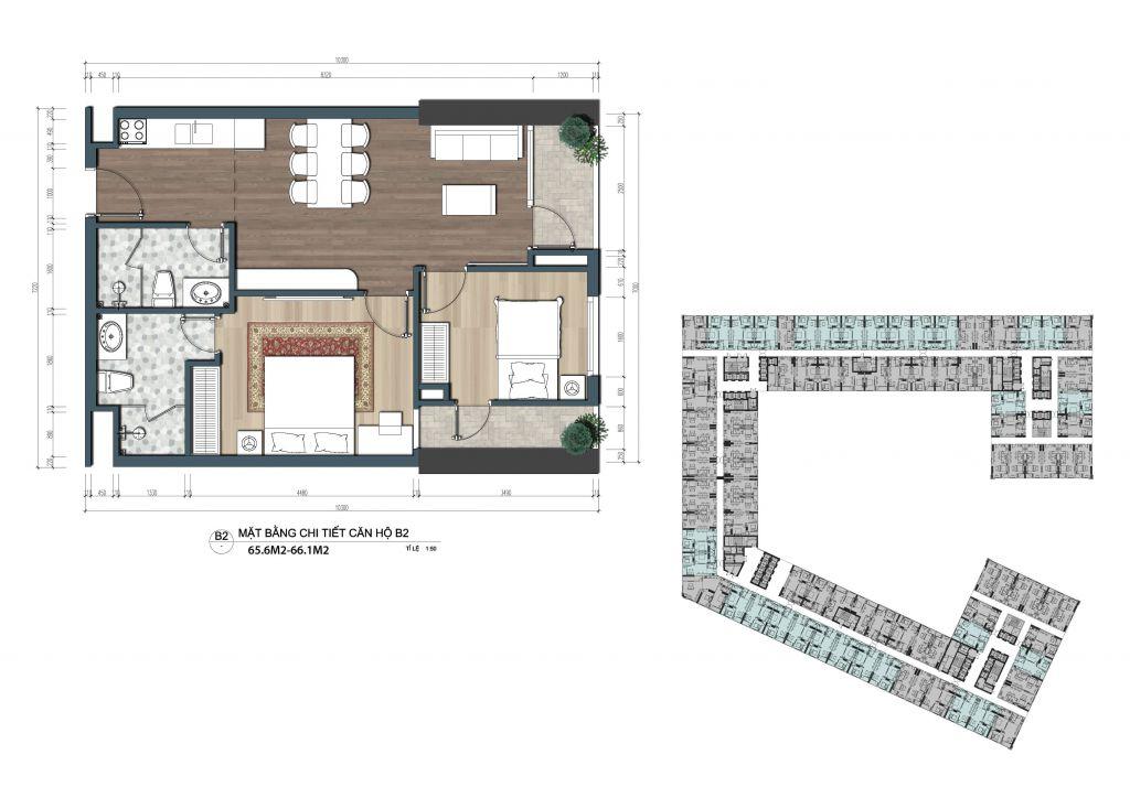 thiết kế officetel the lotus center căn b2