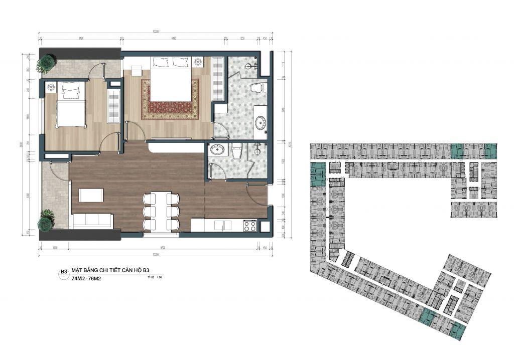 thiết kế officetel the lotus center căn b3