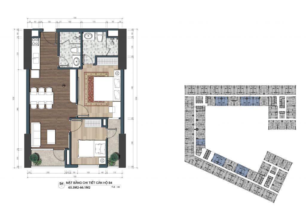 thiết kế officetel the lotus center căn b4
