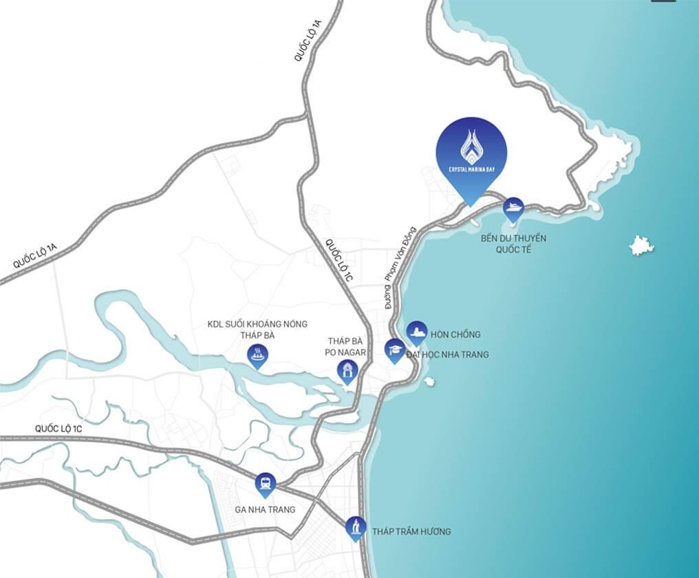 vị trí dự án crystal marina bay