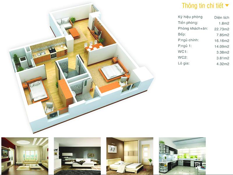 thiết kế căn hộ chung cư the pride