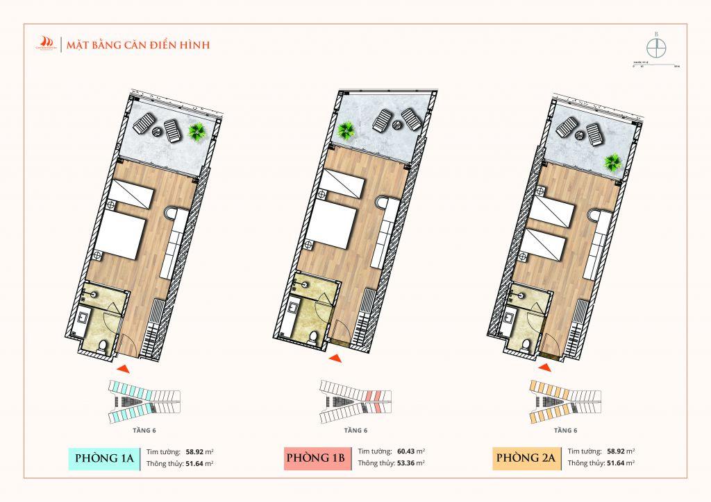 thiết kế căn hộ aparthotel crystal holidays cam ranh riviera