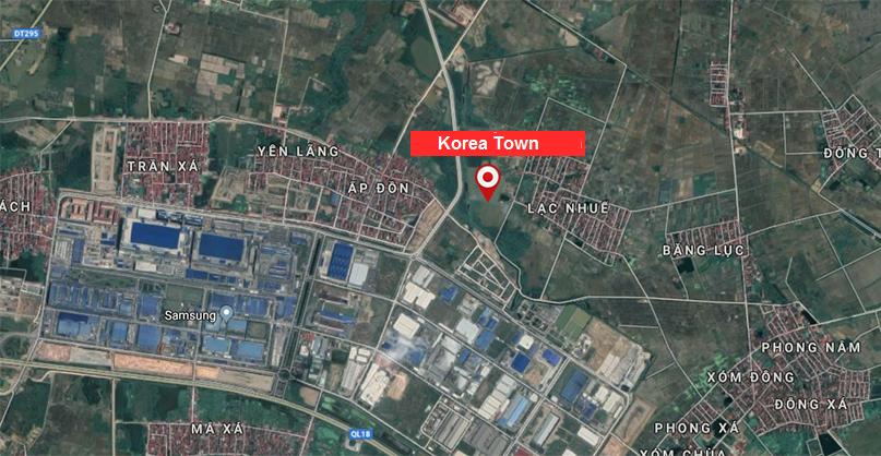 vị trí korea town yên phong bắc ninh
