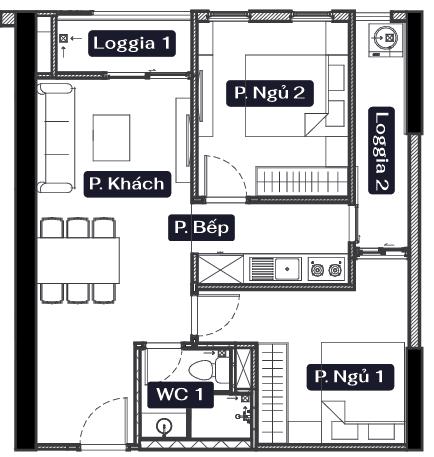thiết kế chung cư anland lake view căn 2 ngủ 1 vệ sinh