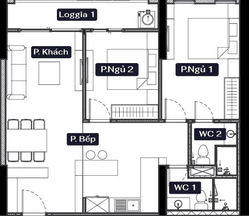 thiết kế chung cư anland lake view căn 2 ngủ 2 vệ sinh