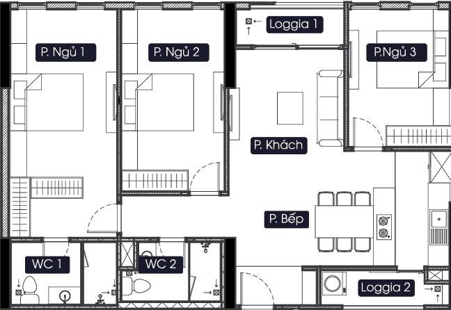 thiết kế chung cư anland lake view căn 3 ngủ 2 vệ sinh