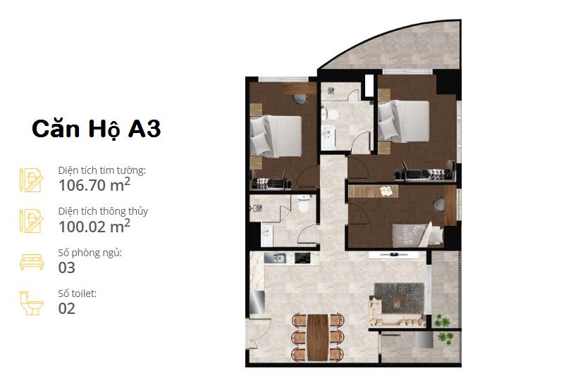thiết kế căn hộ the minata residence căn a3