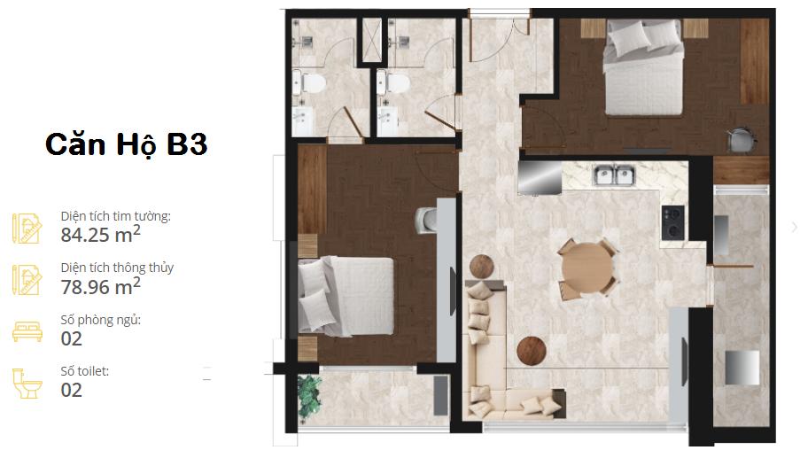 thiết kế căn hộ the minata residence căn b3