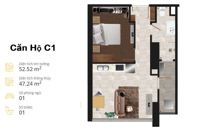 thiết kế căn hộ the minata residence căn c1