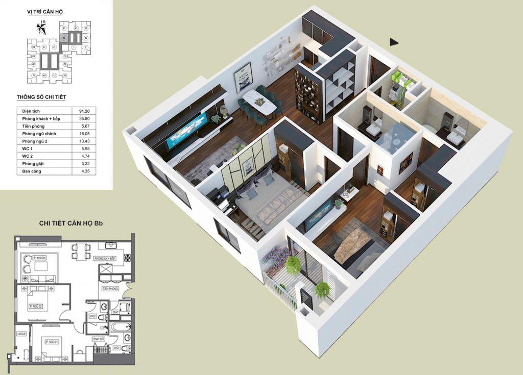 Thiết kế căn hộ Bb