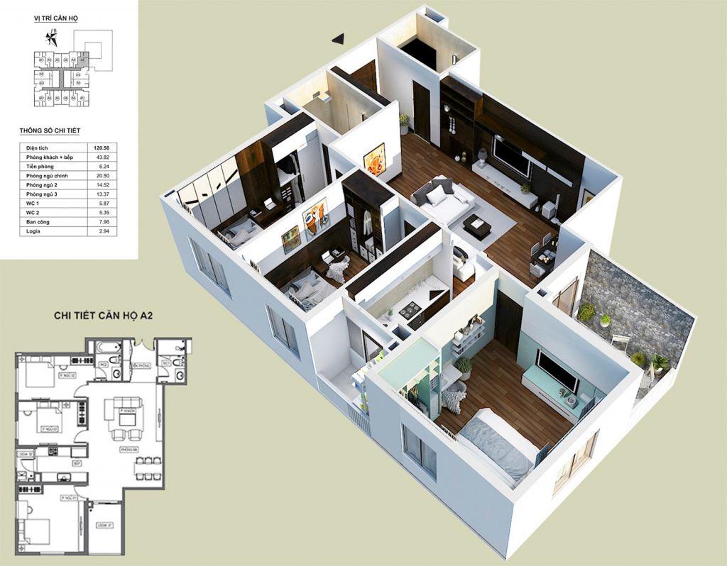 Thiết kế căn hộ A2 HPC Landmark 105