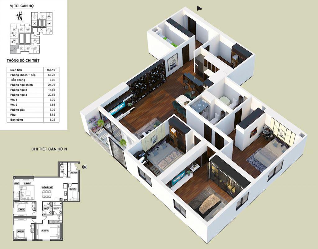 Thiết kế căn hộ N HPC Landmark 105