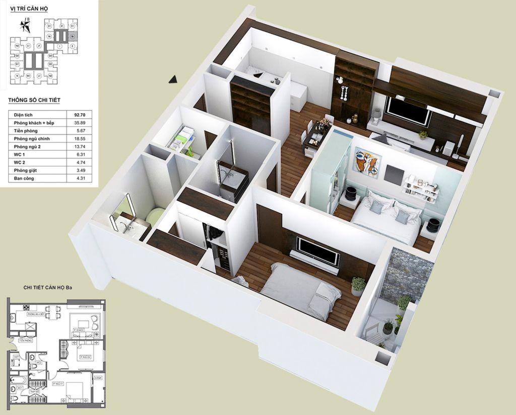 Thiết kế căn hộ Ba